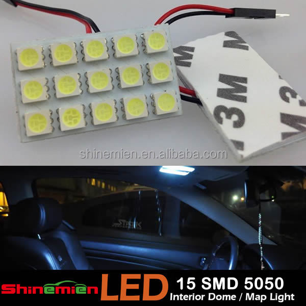 White T10 5050 15 SMD LED Car Roof Dome Panel Light T10 Festoon Bulb Adapter