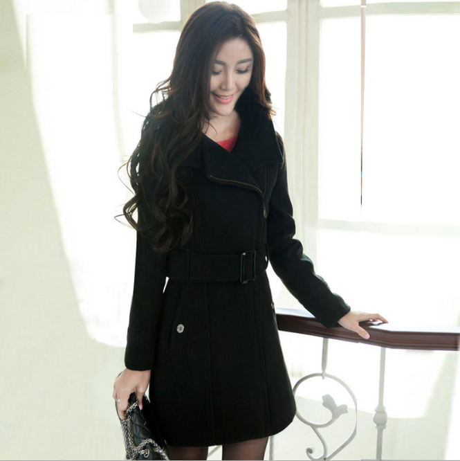 zm40730b high quality low price women long coat with belt