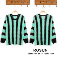 American wholesaler women sweater round-neck hollow out design striped sweater