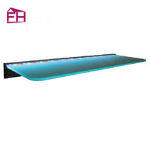 Hot selling cheap custom lighted glass wall corner shelf design and decorative shelf edging