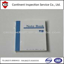 Note book/work book pre-shipment inspection/During production service in China