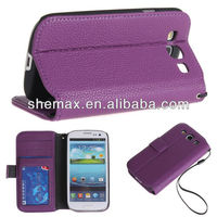 Premium PU Leather Wallet Case and Card Holder With Tire and Magnetic Clip for Samsung Galaxy S3 mini i8190