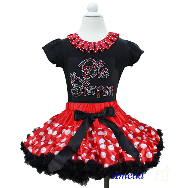 Red White Polk Dots Pettiskirt with Collar Bling Rhinestone Red Big Sister Black Short Sleeves Top 1-7Y