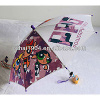 Power puff girl children umbrella with toy handle