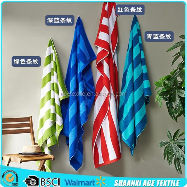 Wholesale 100% cotton terry loop stripes beach towel blanket colorful stripes pool towel beach towel
