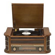 The nostalgic multiple lp phonograph vinyl record turntable player with radio cd cassette