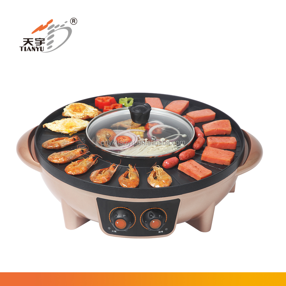 professional portable shabu shabu electric hot pot with grill for family use
