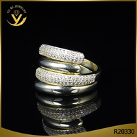Fashion double ring set for men and women, cz diamond 18K gold couple ring