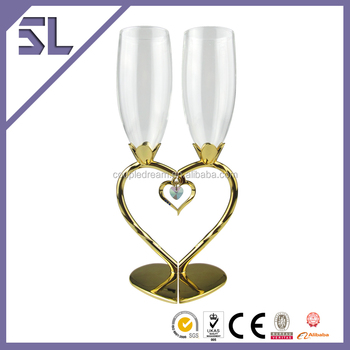 High Temperature Resistant Gold Plating Heart Shaped Luxury Clear Champagne Wine Glasses Laser Cut Customized Logo Available