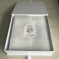 luxury cardboard white baby clothing organic blanket fleece ribbon folding gift box with a set wrapping pure paper and sticker