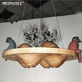 MEEROSEE 2017 New Creative Pendant Lamp for Restaurant Men in Desert Island Wooden LED Hanging Light Fixture MD85424