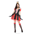 2016 factory sales red color funny carnival adult costume queen of hearts costume for girls