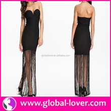 Latest arrival black bodycon strapless tube arabic prom dresses
