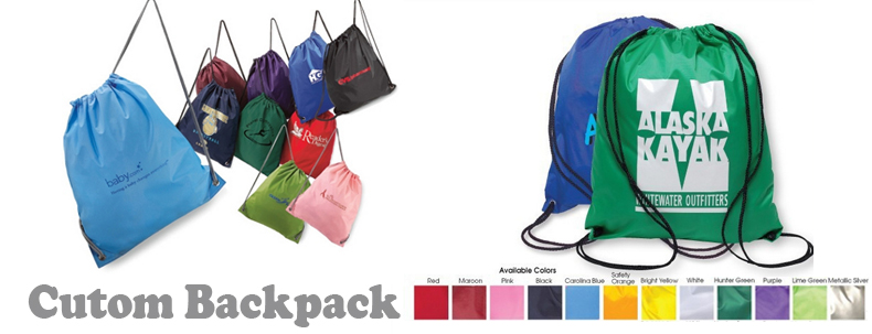 Pink drawstring backpack bag with inside zipper pocket