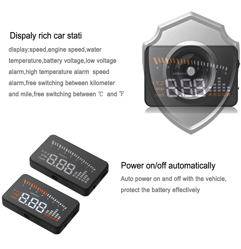 New hud OBD2 X5 mini projector auto electron Car hud tpms