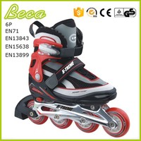 wholesale PU wheel black inline skate shoes with aluminum chassis
