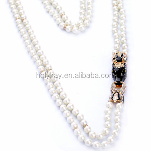 2014 trendy fashion accessories double strand glass pearl necklace from dropship suppliers