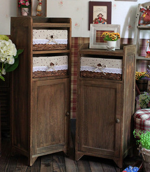 Office Furniture Wooden Filling Cabinets With Two Storage Baskets