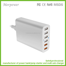 60w 6-Port Qualcom 3.0 High Speed USB Wall Charger , USB Desktop Charging Station