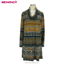 OEM Factory Wholesale Aztec Printed High Neck Design Ladies Ethnic Dress For Old Women