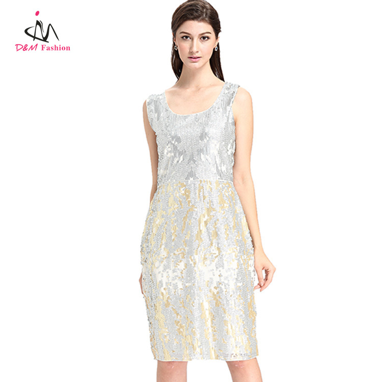 Night Club Party Elegant Fashion Adult Women Ladies Sequin Dress U Neck Beaded Sleeveless Short One Piece Dress