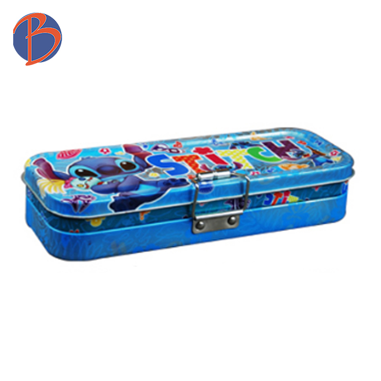 Two-layers personalized pencil tin box with lock
