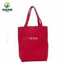 Solid red letter printed large recycled canvas packaging tote shopping bag