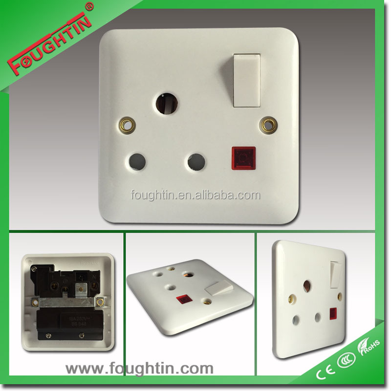 British Standard 15A 250V switched socket with neon electric wall switch