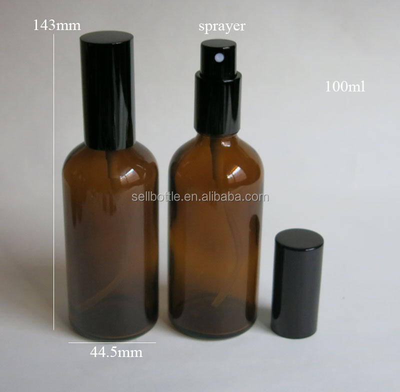 Amber Glass Bottle 100ml With Black Spray For Essential Oil Glass Bottle Perfume Use
