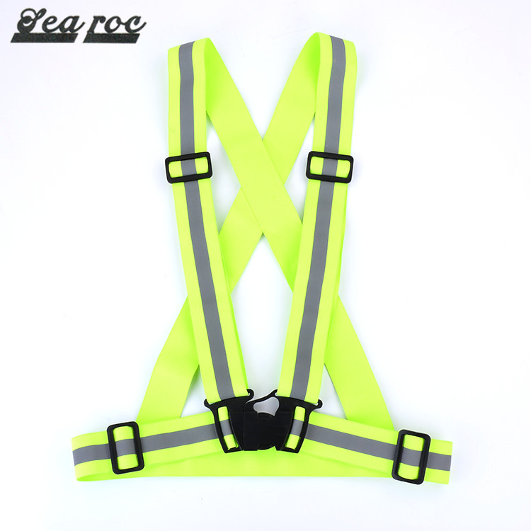 Heavy duty work reflective elastic material work belt and suspenders with plastic buckles
