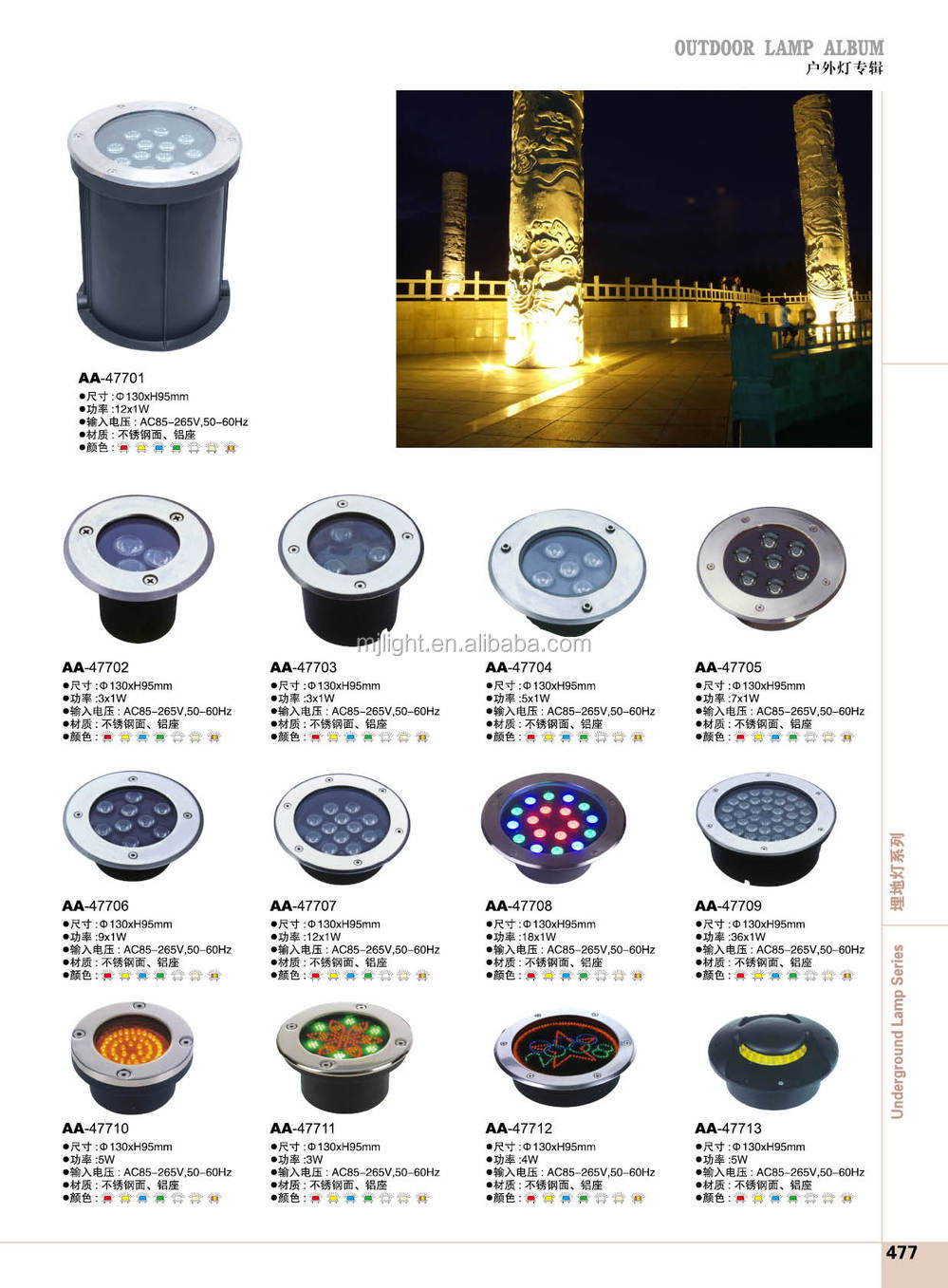3PCS x1W recessed IP67/IP68 outdoor spot lights in ground