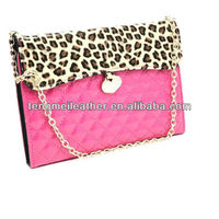 Rose sexy leopard design pu leather tote cards bag case for ipad mini