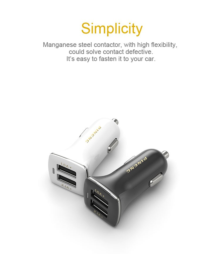 Multifunctional double usb smart universal laptop mobile phone 2 ports usb car charger