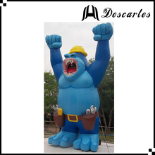 4.5m Tall Waterproof Fabric Giant Inflatable Blue Gorilla With Fierce Face