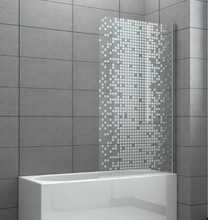Tub shower Aluminum Bath Screen with beautiful decorate