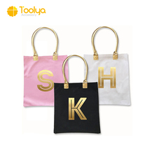 Promotional Cotton Custom Printed gold hot stamping canvas tote bag leather handle