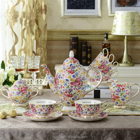 High quality 15 pcs European style Luxury bone china ceramic coffee tea set with flower pattern for 6 person