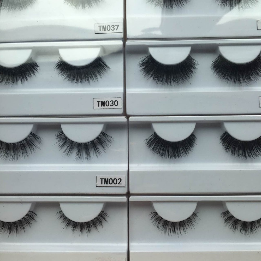 Natural fashion wispy style human hair eyelash, strip false eyelashes