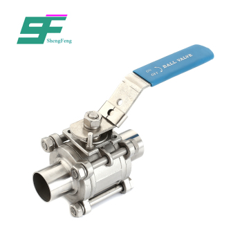 High performance food grade stainless steel design manual weld three-piece ball valve