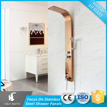 Professional Factory Supply Massage Rose Gold Shower Panel With Rain Shower Faucet