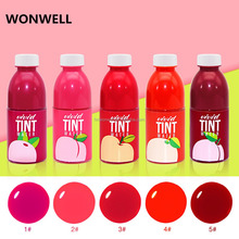 5Colors Fruit Stained Lip Gloss Waterproof Long Lasting Non-Stick Cup Makeup Liquid Lipstick Sweet Fruit Red Lip Tint