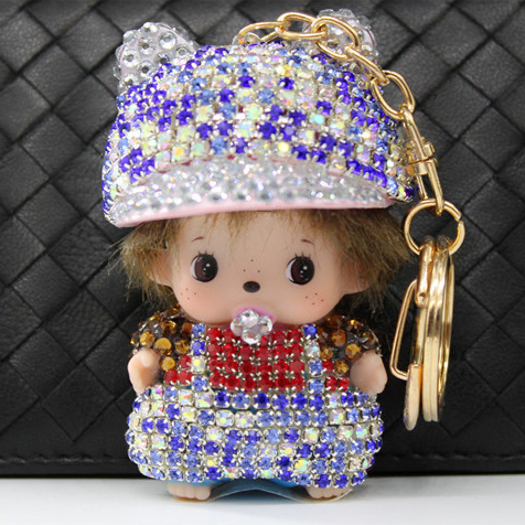 Crystal keychain full rhinestone keychain for car Pendant, cartoon kids bling bling glow diamond key chain bulk buy from china