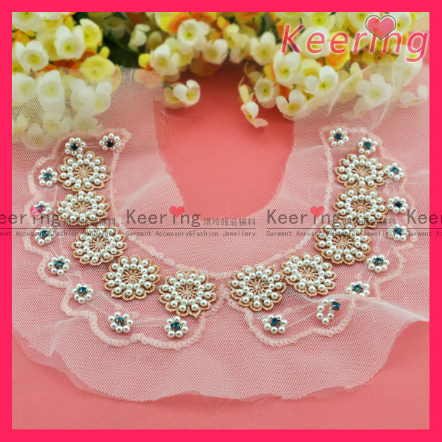 new arrival pearl flower rhinestone and sequins decoration lace neckline WNL-1203