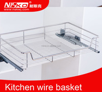 kitchen drawer basket ,dish draining wire basket,pull out storage dish rack basket