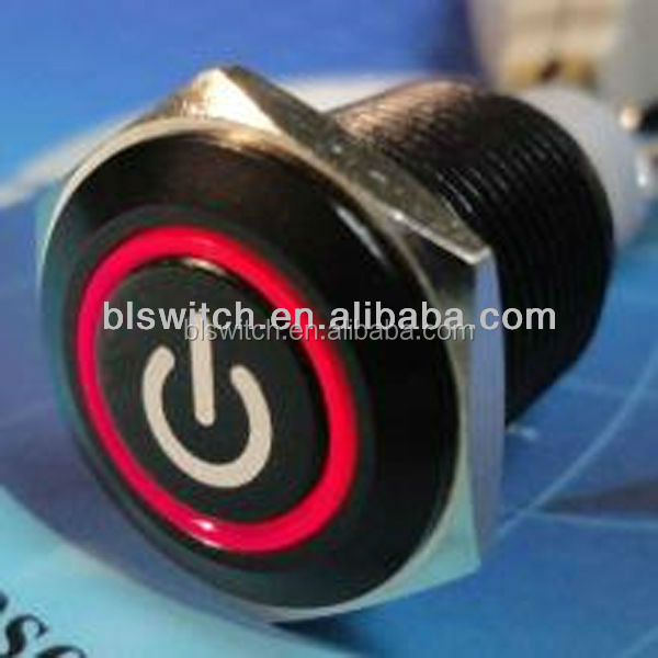 16mm Aluminium coated black LED dual color illuminated push button switch with power symbol