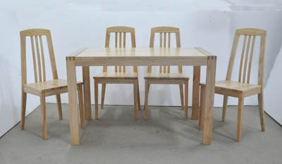 Solid Rubberwood Furniture-JAT-DT17 /JAT-CH17 Table and Chair