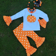 100 cotton children clothing wholesale pumpkin sets girls boutique Halloween outfit for fall