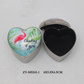 Heart shape flamingo design glass metal jewelry box
