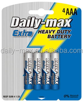 size AAA 1.5V R03P battery manufacturer