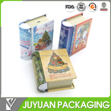 Book shaped christmas mini metal candy tin cans wholesale manufacturer